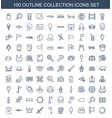 100 collection icons vector image vector image
