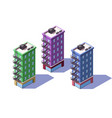 3d isometric mid-rise house with mini market on vector image vector image