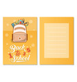 back to school greeting card set vector image vector image