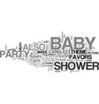 bashower party favors text word cloud concept vector image vector image