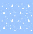 blue seamless pattern with white christmas trees vector image