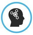 Brain Mechanics Flat Rounded Icon vector image