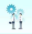 business cooperation with gear flat design vector image vector image