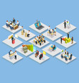 business training isometric set vector image vector image