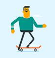 caucasian white man riding a skateboard vector image vector image