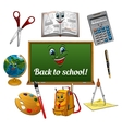 Cheerful cartoon school supplies with blackboard vector image vector image