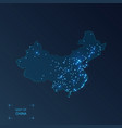 china map with cities luminous dots - neon lights vector image vector image