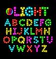colorful led strip light alphabet vector image vector image