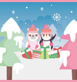 cute bear and penguin landscpae winter trees merry vector image vector image