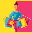 cute girl with packages vector image vector image
