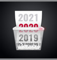 dociments 20192020 2021 is cut into shredder vector image