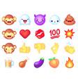 emoji icons cute smiley emoticons happy vector image vector image