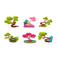 fantasy trees cute houses and well set fairytale vector image vector image