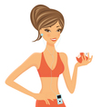 Fitness girl with apple vector image vector image