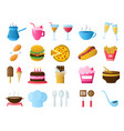 food and drink icons restaurant line icons set vector image