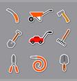 garden tools stickers vector image vector image