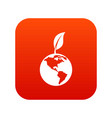 green world qlobe with leaf icon digital red vector image vector image