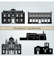 Heraklion landmarks and monuments vector image vector image