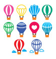 hot air balloon and color icons set vector image