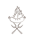 Hot sausage in flames vector image vector image