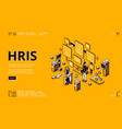 hris isometric landing page human resources tech vector image vector image