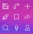 interface icons line style set with mike forward vector image vector image