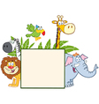 Jungle Animals Behind A Blank Sign With Leaves vector image vector image