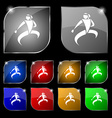 Karate kick icon sign Set of ten colorful buttons vector image vector image