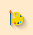 Modern Flat Icon of Brush and Palette with Paints vector image vector image