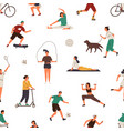 people performing different sports exercises vector image vector image