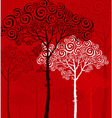 pine silhouette on red background vector image vector image