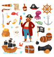 pirate piratic character buccaneer man in vector image