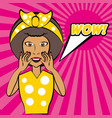 pop art african woman wow speech vector image