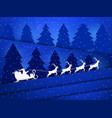 santa claus in a sleigh with reindeer night vector image vector image