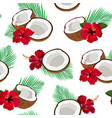 seamless pattern coconut piece and palm leaves vector image vector image