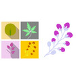 Set of treesleaves and flowers in flat concepts