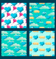 set with cute cloud cartoon seamless pattern vector image vector image