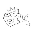 sketch draw funny fish cartoon vector image