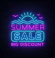 summer sales neon banner bright neon vector image vector image