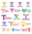 t letter corporate identity business icons vector image vector image