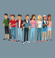 teens group fashion student modern style vector image vector image