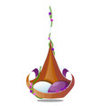 the original hanging chair with cushions decorated vector image vector image