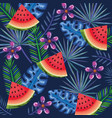 tropical garden with watermelon vector image vector image