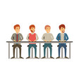 white background with teamwork of men sitting in vector image