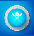 white crossed baseball bats and ball icon vector image