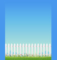 white fence and blue sky vector image