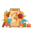 young people plan their trip on vacation vector image