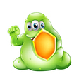 A brave greenslime monster holding a shield vector image vector image