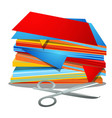 a stack of colored paper and office scissors vector image