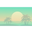 At sunrise beach landscape of silhouettes vector image vector image